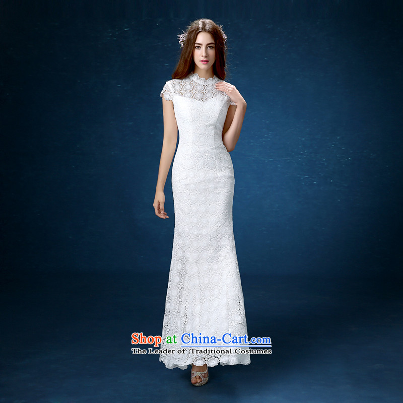 According to Lin Sha cheongsam dress the new 2015 improved long white lace qipao bows Service Bridal crowsfoot long wedding dress girl S