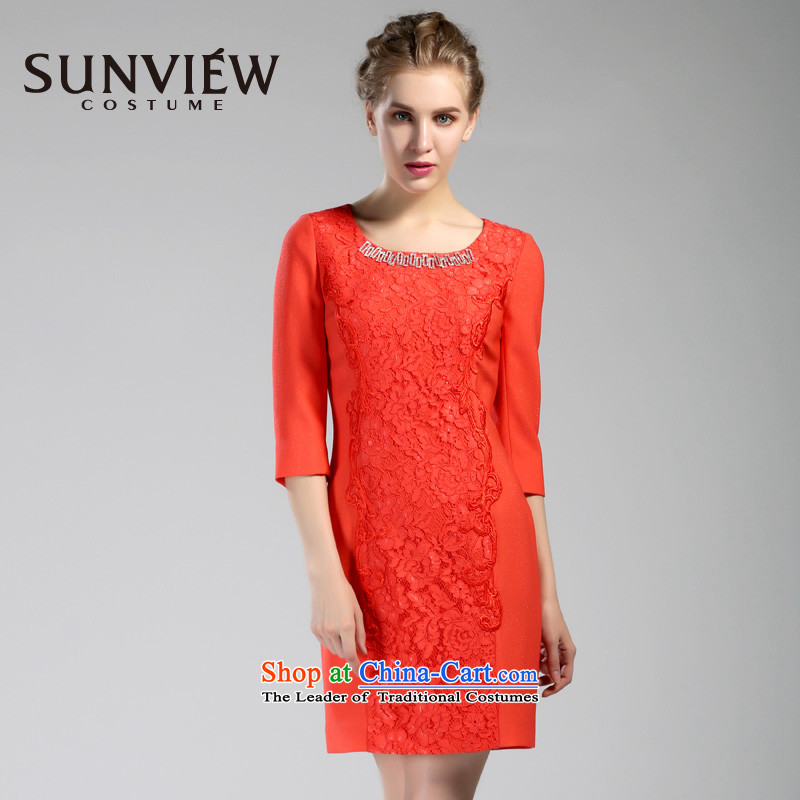 Yet some brands SUNVIEW/ female counters with the new beauty autumn in the stylish cuff Sau San festive dresses SE0IL033 01 red?40/165/M Watermelon