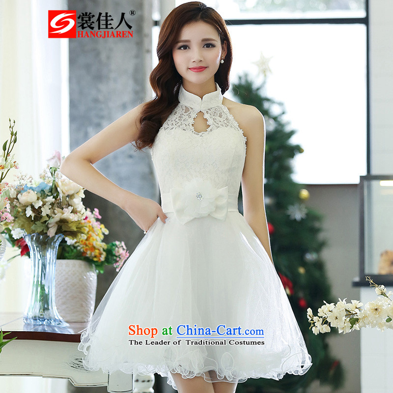 The advisory committee set up the new bride services 2015 lace fluoroscopy the yarn bon bon short) bridesmaid to skirt dress HSZM1516 white?S