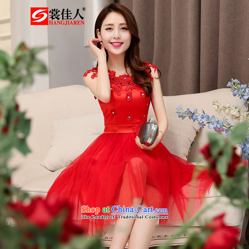The advisory committee set up by 2015 new red bridesmaid dresses wedding dress marriage evening drink service short skirt lace bride replacing HSZM1530 RED�XXL