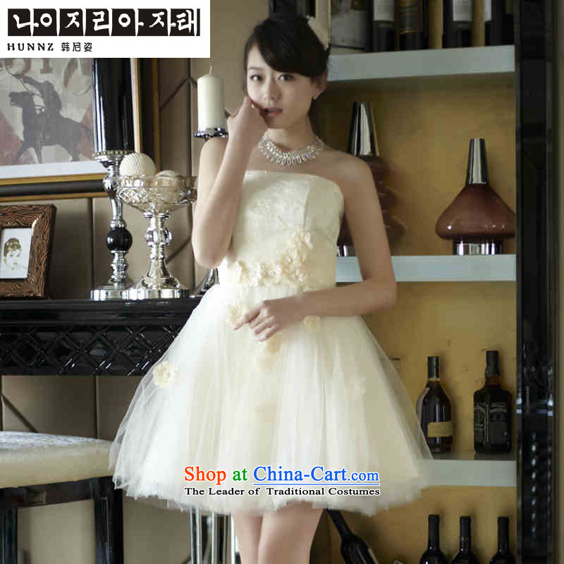 Name of the new 2015 hannizi spring and summer minimalist bridal dresses Sau San video thin bows and chest dress uniform light champagne color?XXL