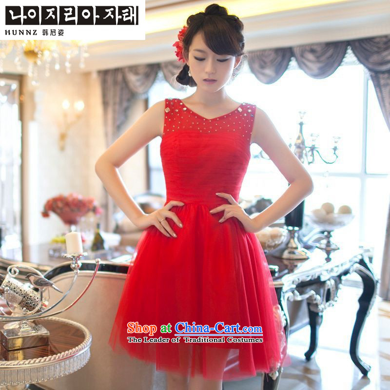 Name of the new 2015 hannizi spring and summer Korean word stylish evening dress brides shoulder banquet service red?XXL toasting champagne dress