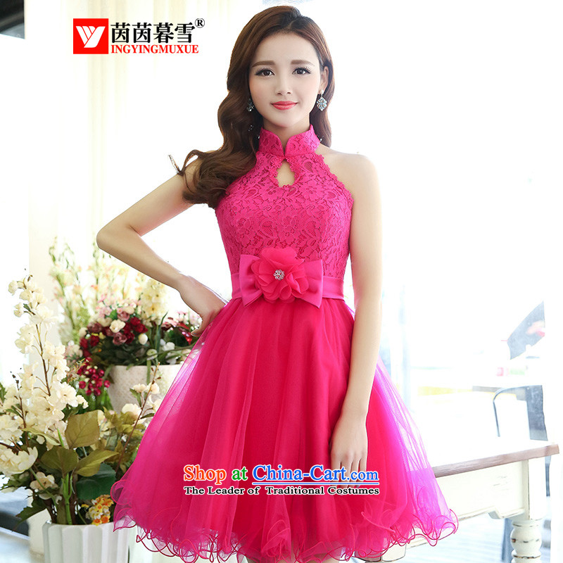 The Yin Yin snow 2015 new bride services lace fluoroscopy the yarn bon bon short) bridesmaid to skirt dress in red?L HSZM1516