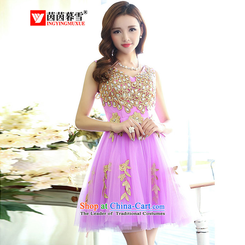 The Yin Yin snow fall 2015 new stylish anointed chest lace Sau San marriages bows services white strap evening dress short skirt HSZM1517 PURPLE?L