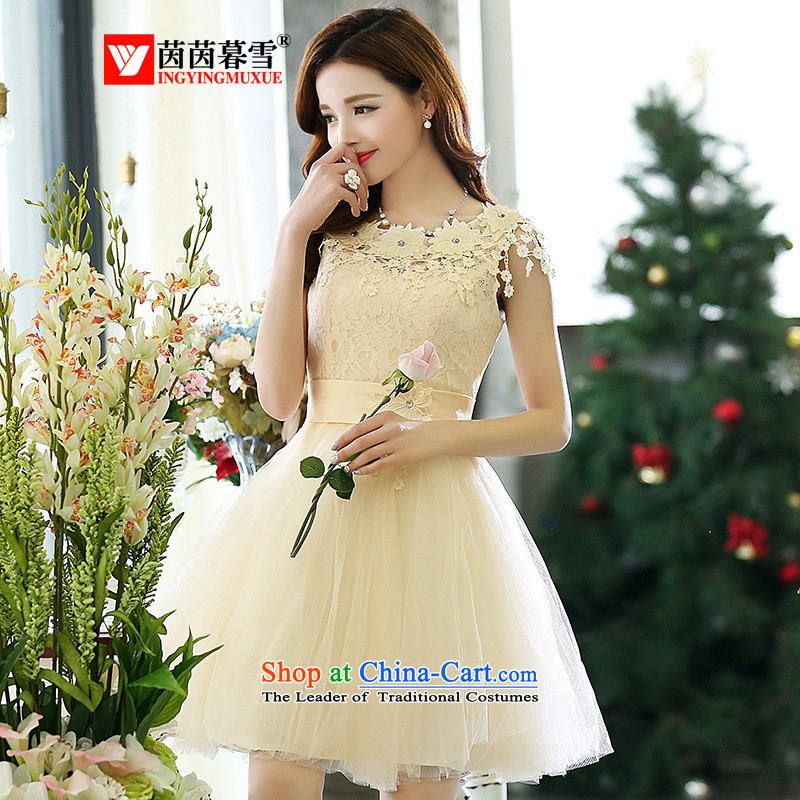 The Yin Yin snow 2015 Women's stylish lace dresses bride bridesmaid evening wedding dresses elegant small tie vest HSZM1518 skirt m White?XL