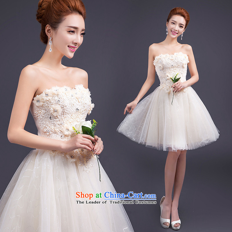 Name of the new 2015 hannizi spring and summer Korean bon bon skirt bride wedding dress bows and short of chest services champagne color?S