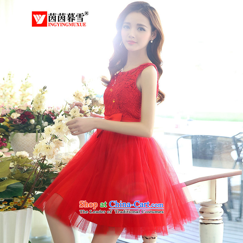 The Yin Yin snow 2015 new embroidery OSCE root yarn sleeveless tank dresses ultra-bon bon skirt wear bridesmaid small dress uniform?HSZM1521 show?red?L