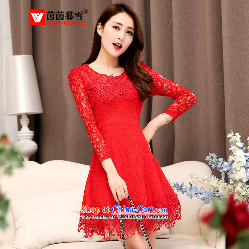 The Yin Yin snow 2015 new red bridesmaid dresses wedding dress marriage bows services wedding night wear skirts?HSZM1525 replacing?red bride?L