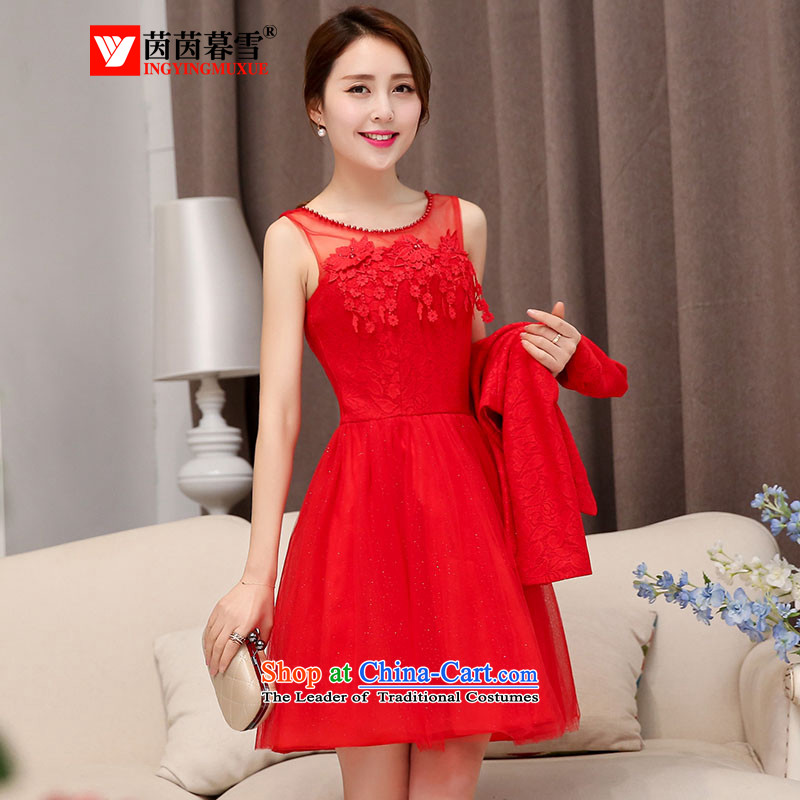 The Yin Yin snow 2015 new bridesmaid dresses wedding dress marriage evening drink service short skirt lace bride replacing two kits HSZM1529 RED?M