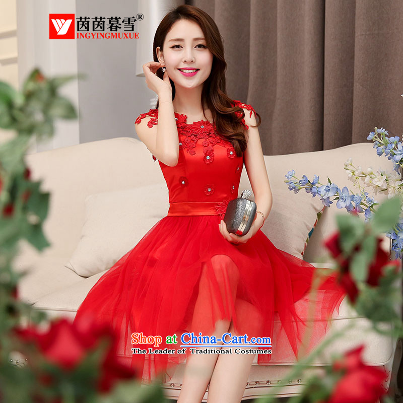 The Yin Yin snow 2015 new red bridesmaid dresses wedding dress marriage evening drink service short skirt lace bride replacing HSZM1530 RED?L