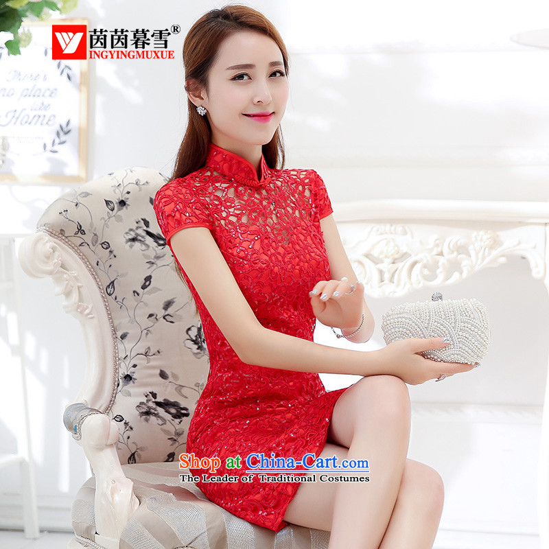 The Yin Yin snow fall 2015 installed new lace qipao bride wedding dress banquet red dress back to door onto bows to female HSZM1576 RED?L