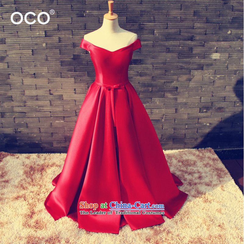 The TOCO high-end Custom Word 2015 new shoulder red satin marriages bows service of the late fall in the Summer Wedding Dress Female Red�L