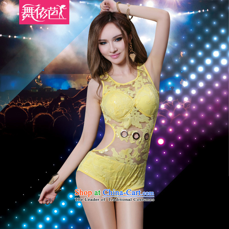 In accordance with the hip new dance bars ds will sexy fluoroscopy night female dj dance Jazz Entertainment Services Services stage costumes yellow聽S聽small code