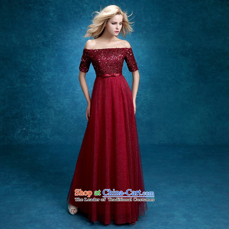 Time The?new bride 2015 Syria bows services fall and winter wine red short of married women dress short skirts on-chip in evening dress cuff women dress wine red long?M