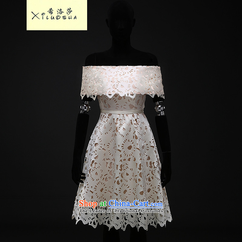 Hillo Lisa (XILUOSHA) Wedding Dress Short, bride Services Mr Ronald word bows shoulder satin dress 2015 new small dress Paper Cutting in the champagne color?XXL