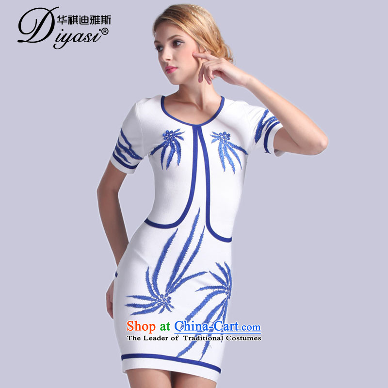 The original 2015 Spring/Summer new ethnic dress in shape and sexy package and bandages dresses & Gatherings show white?L