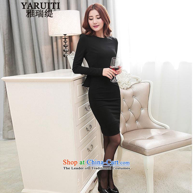 Ya Rui Economy 2015 new long-sleeved elegant wedding dresses Sau San dresses dress black�M