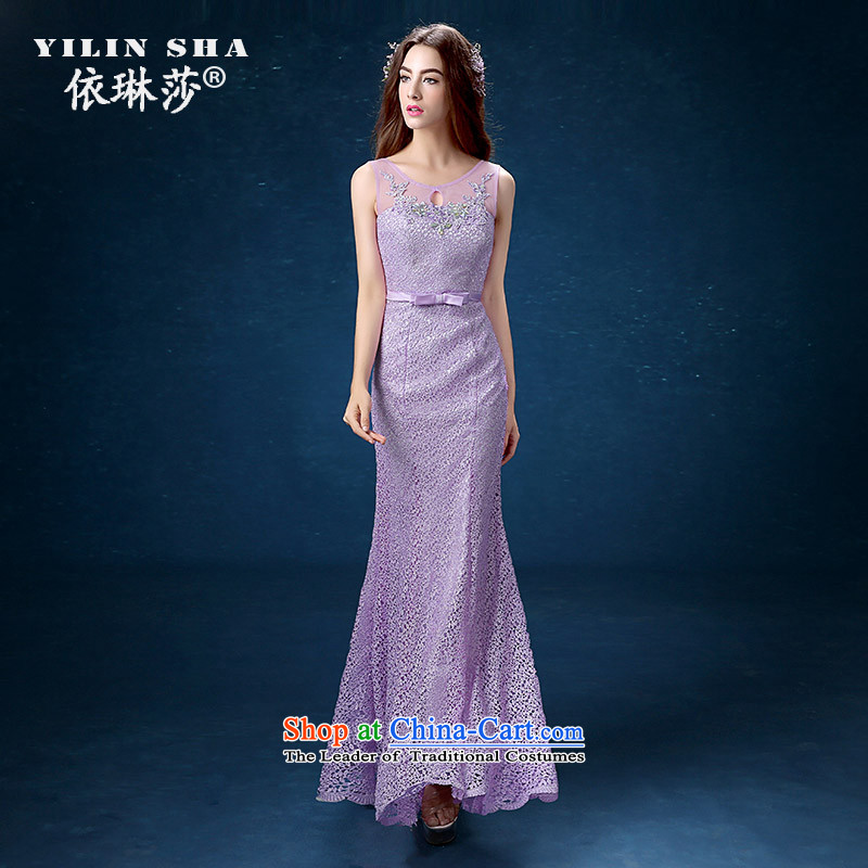 According to Lin Sha evening dresses long banquet 2015 new bride purple bows services under the auspices of services performed bridesmaid crowsfoot dress XL