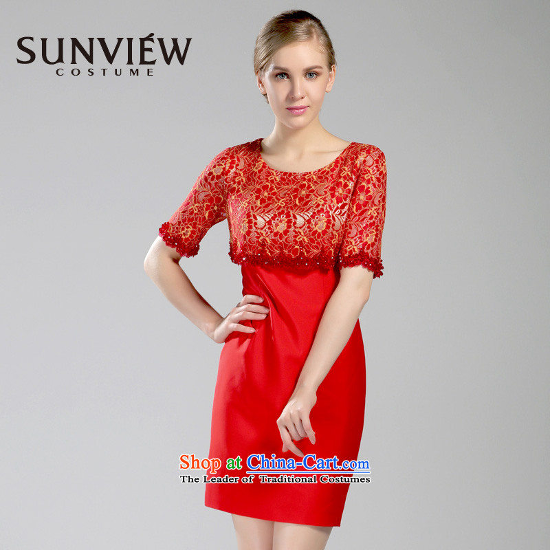 Yet some brands SUNVIEW/ women during the spring and autumn new stylish nail pearl leave Sau San in two cuff dress dresses VE0TL077?38/160/S 02 Red