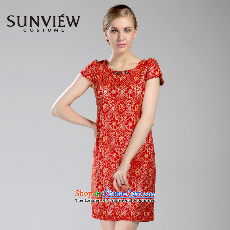 Yet some brands SUNVIEW/ female counters genuine 2015 Summer Wedding new bride bridesmaid dress dresses VE0TL080?42/170/L 02 Red