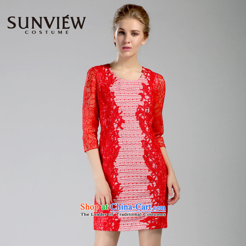 Yet some brands SUNVIEW/ female counters in spring and autumn 2015 genuine new Wedding Dress Suit?02 Red?42/170/L
