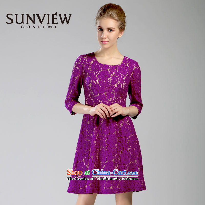 Yet some brands SUNVIEW_ female counters in spring and autumn 2015 genuine new seven-sleeved bride bridesmaid dresses in purple 44_175_XL SE0IL143 75