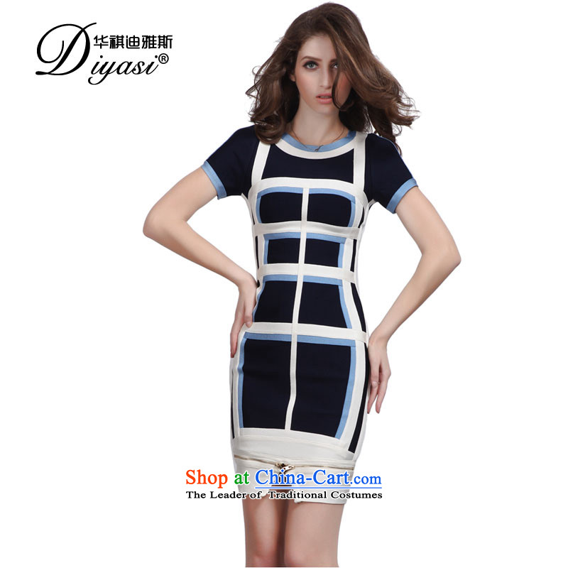 2015 Spring/Summer New Fitness skirt temperament package Shoulder/bridesmaid evening dress skirts bows zipper forming the skirt blue color plane?S