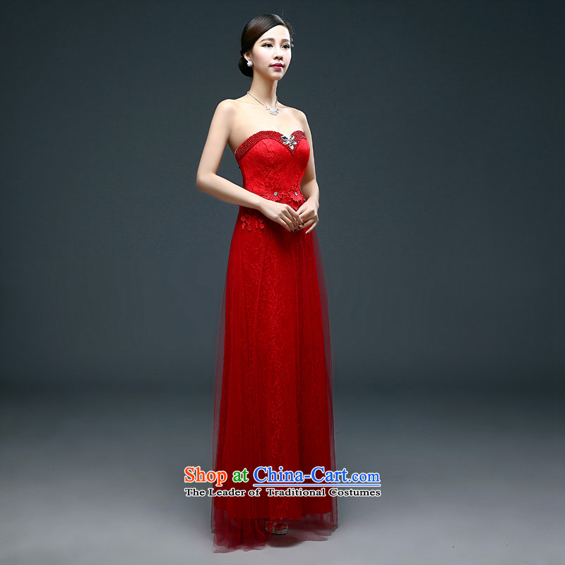 Name of the bows to the bride hannizi 2015 wedding dress tie long banquet evening dresses and chest bridesmaid services spring and summer red?S