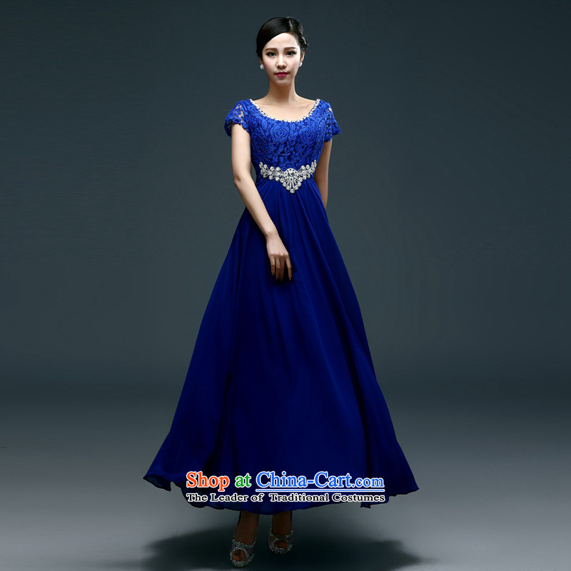 Name of the new spring and summer hannizi Korean modern long strap minimalist bride dress bows services 2015 banquet dinner dress blue�XXL