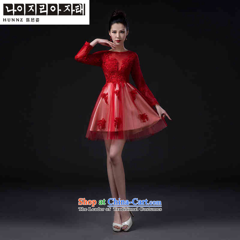 Name of the new 2015 hannizi spring and summer Korean-style graphics thin bride wedding dress banquet evening dresses red red�XXL