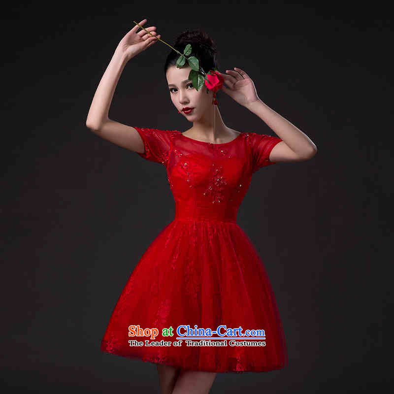 Name of the new 2015 hannizi Korean-style and simplicity brides wedding dress bows services 1 shoulder red red�L