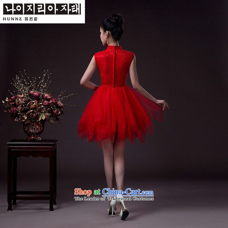 Name of the bows to the bride hannizi 2015 wedding dress and chest straps stylish evening dress banquet Sau San pink?M