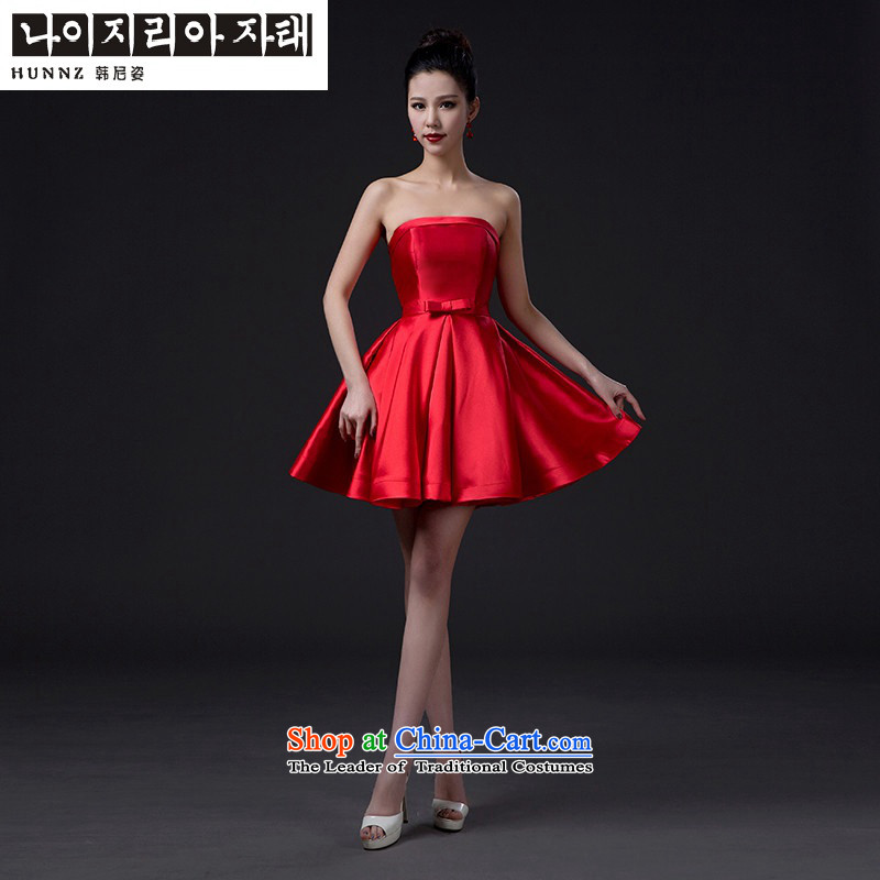 Name of products bridesmaid services 2015 hannizi new summer anointed chest red stylish bride bows services services dress RED�M Sister