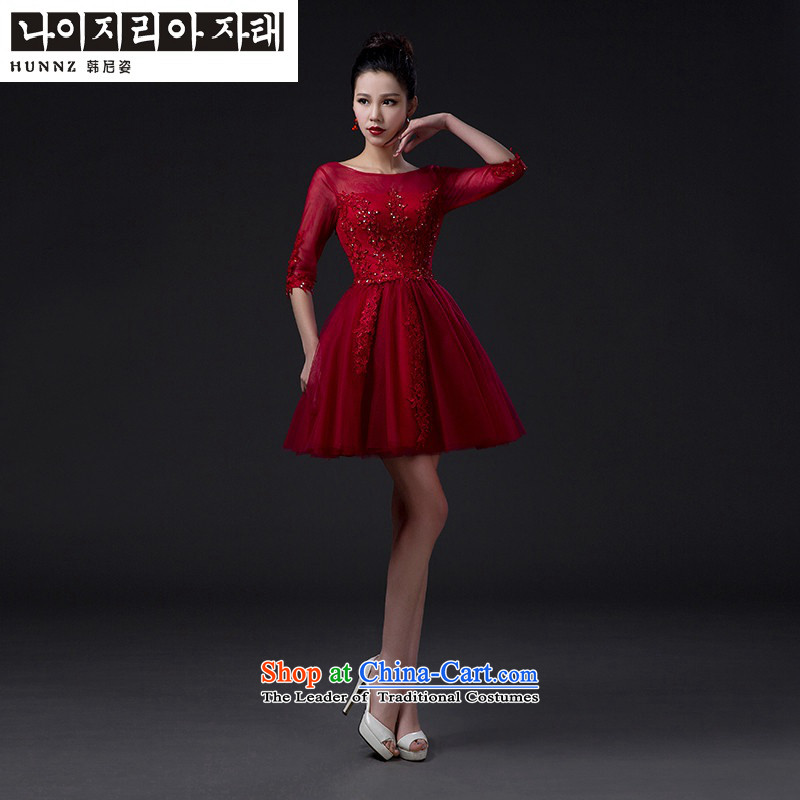 Name of the bows services sister hannizi 2015 Service Bridal wedding dress wine red Korean stylish evening dresses wine red?XXL
