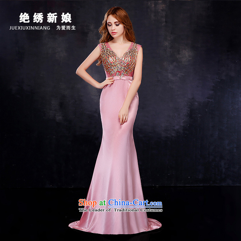 2015 Korean brides dress shoulders long large graphics thin bride banquet evening dresses crowsfoot marriage bows services Pink XL Suzhou Shipment