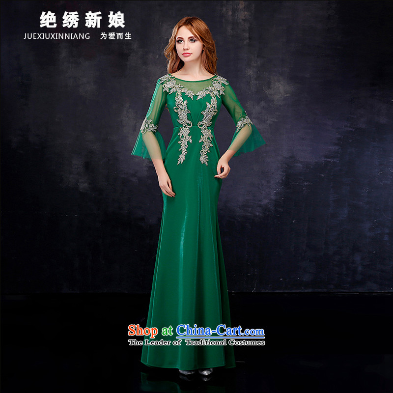 Summer 2015 new large graphics and slender, Annual Service Bridal crowsfoot banquet toasting champagne evening dress green?XL?Suzhou Shipment