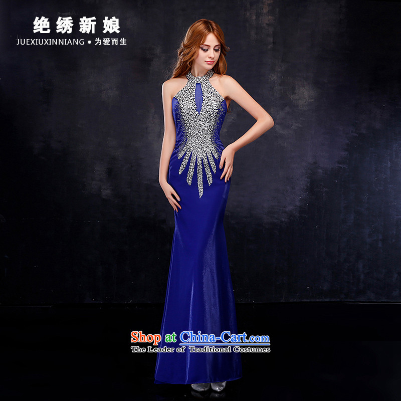 Summer 2015 new Korean history of the bride-large graphics thin crowsfoot evening dresses Sau San banquet service blue?XL?Suzhou bows shipment