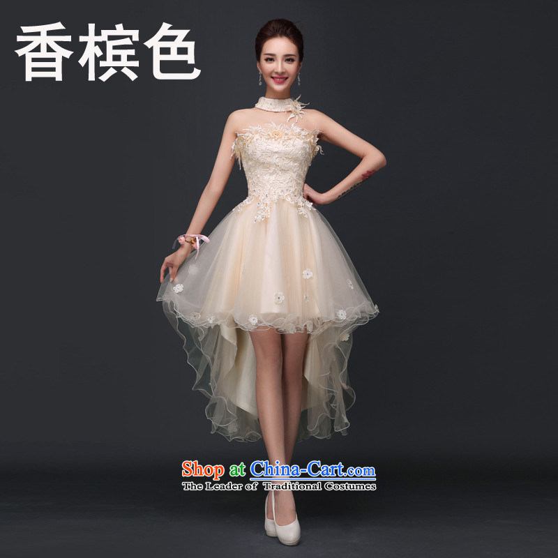 The new summer 2015 Dress Short long after the former anointed chest shortage of bride bridesmaid bows to female sister married evening dresses betrothal small skirt pleasant bride champagne color S