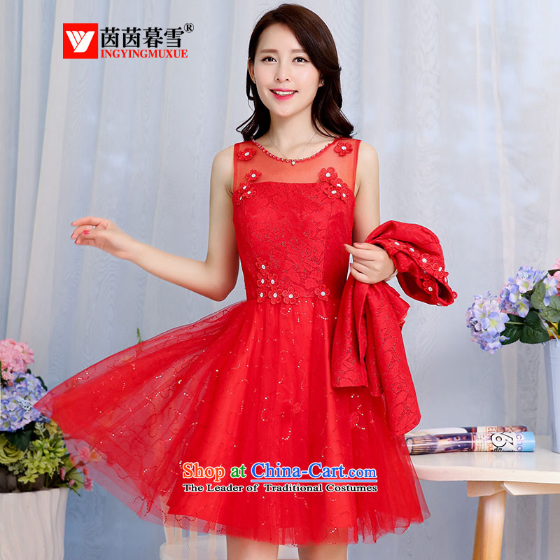 The Yin Yin snow fall 2015 NEW OL temperament elegant two kits dresses small jacket vest skirt kit skirt dress?HSZM1582?RED?L