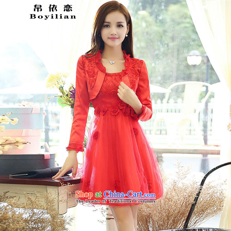 8attachment larger bride red dress short of the lift mast bows services straps lace dresses autumn, two kits red?XXL