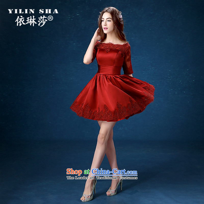 According to Lin Sha bride bows service stylish Sau San wine red will marry the new 2015 banquet evening dresses?XL