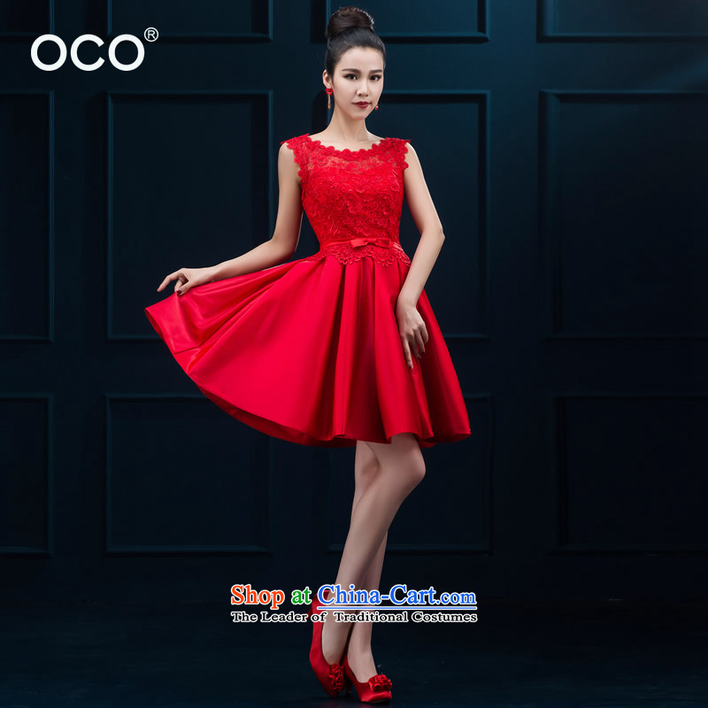 The bride small dress new 2015 lace video thin red short of bows to marry her dress the lift mast Services Mr Ronald Female Red�M