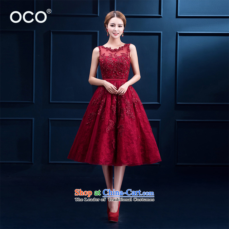 However service new summer 2015 red lace in long banquet bows dress marriages lace red dress video thin wine red  ?M