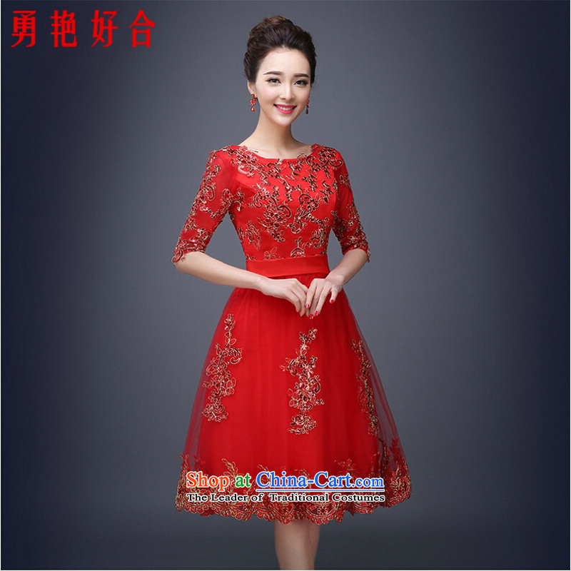 Yong-yeon and 2015 new bride bows Services Mr Ronald long wedding Wedding Dress Short, wipe the chest evening dresses Sau San red female red circle collar short- M