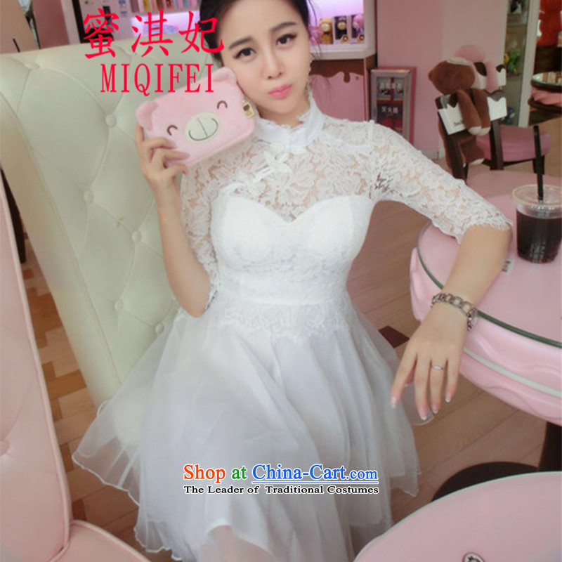 The autumn 2015 princess honey qi new women temperament lace fifth cuff-cheongsam dress suit skirt White?M