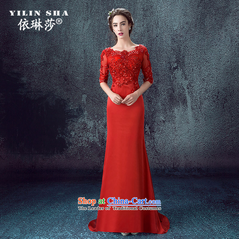 According to Lin Sa 2015 autumn and winter new marriages bows services long-sleeved lace crowsfoot evening dress small trailing wedding dress tailored consulting customer service