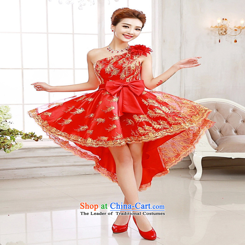 Su-lan, bride love Dress Short long after the former slender legs bows dress red dress will stage a bride dress red shoulder, Red single shoulder,?XXL