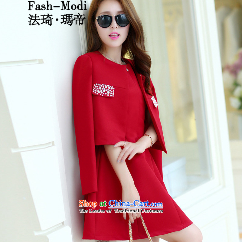 The law was the 2015 Autumn Qi load new women's kit Korean aristocratic small incense diamond wind jacket vest bon bon skirt two kits dresses larger dress short skirts dark red?L
