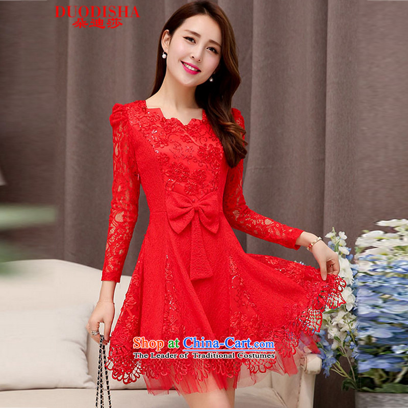 Flower Tanya new autumn 2015) long-sleeved blouses and dresses large red video in long-sleeved thin long skirt dress 5203 RED?M