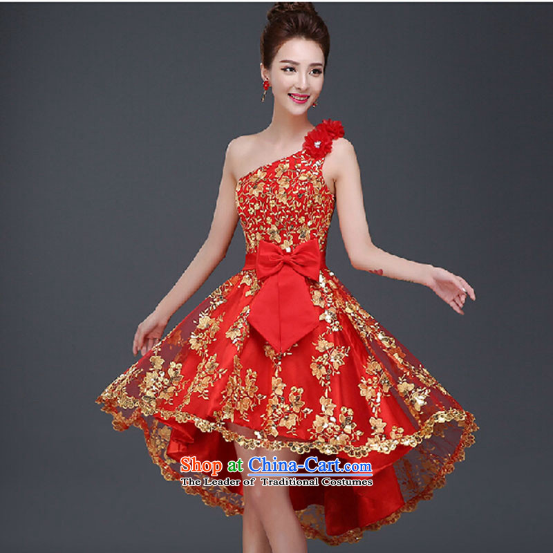 Wipe the chest video thin bridesmaid Service, Mr Ronald banquet evening dresses 2015 new bride dress married Sau San bows services shoulder to red no refund is not shifting